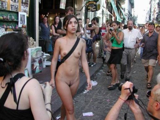 Nude babe in public